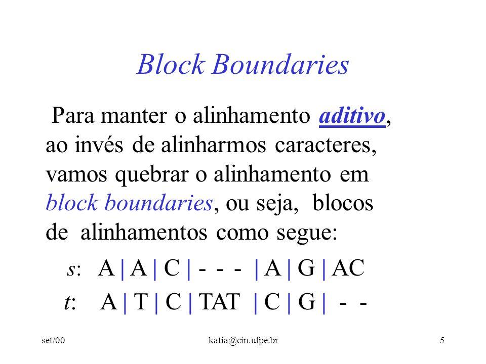 set/00katia@cin.ufpe.br5 Block Boundaries Para manter o alinhamento aditivo, ao invés de alinharmos caracteres, vamos quebrar o alinhamento em block b