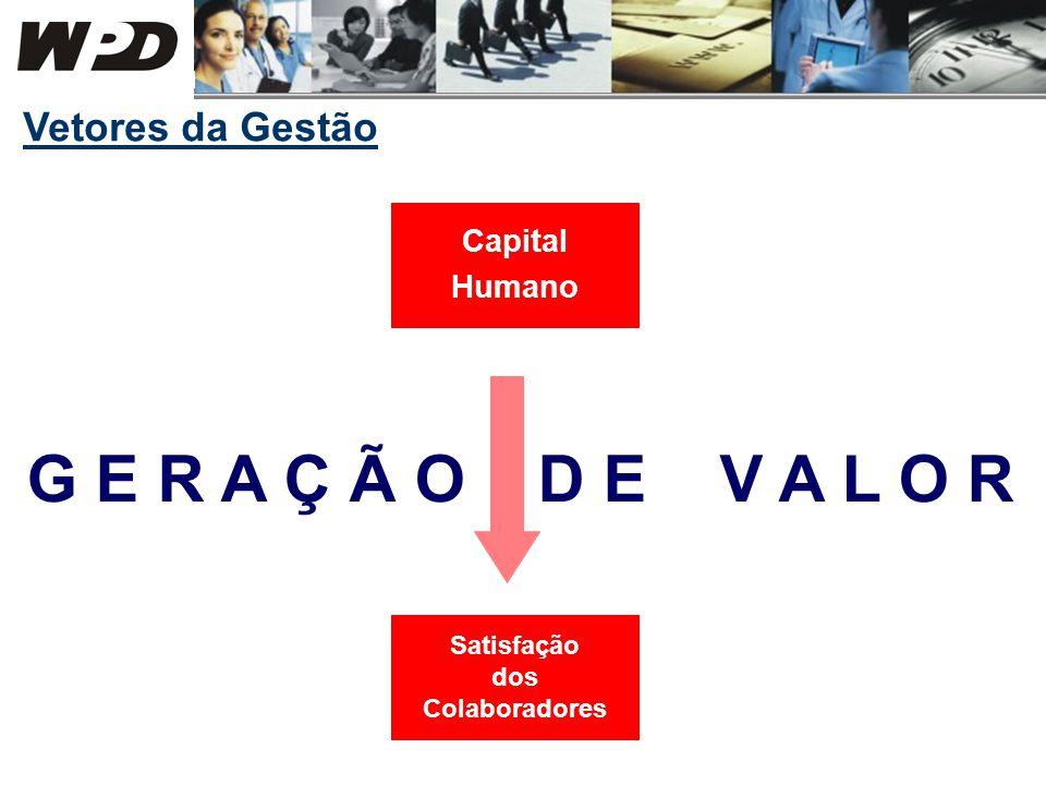 Vetores da Gestão Capital Humano G E R A Ç Ã O D E V A L O R Satisfação dos Colaboradores