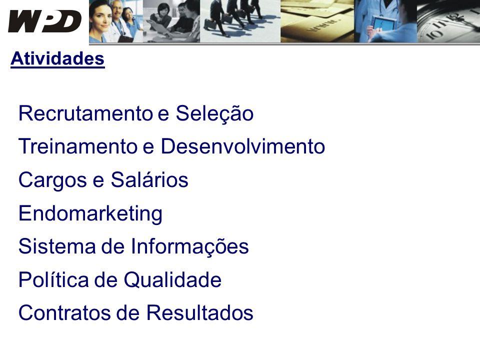 Recrutamento e Seleção Treinamento e Desenvolvimento Cargos e Salários Endomarketing Sistema de Informações Política de Qualidade Contratos de Resulta