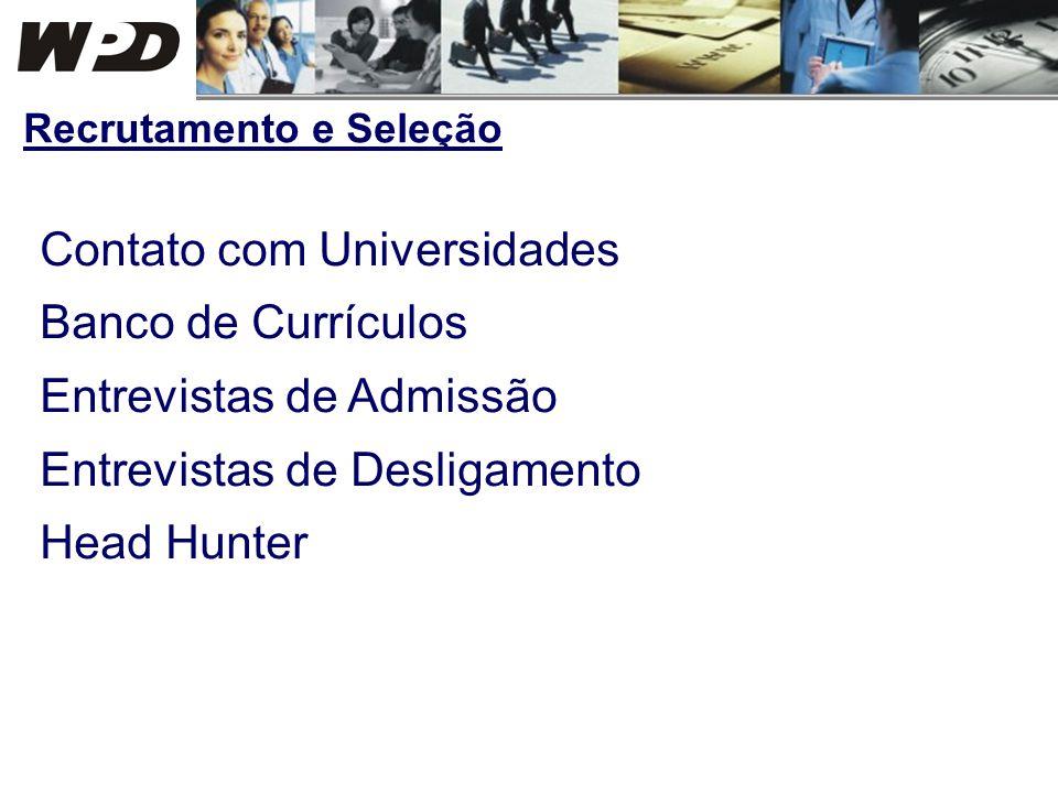 Contato com Universidades Banco de Currículos Entrevistas de Admissão Entrevistas de Desligamento Head Hunter Recrutamento e Seleção
