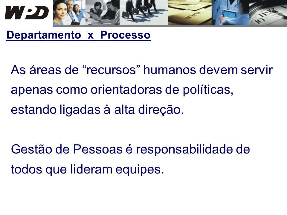 As áreas de recursos humanos devem servir apenas como orientadoras de políticas, estando ligadas à alta direção. Gestão de Pessoas é responsabilidade