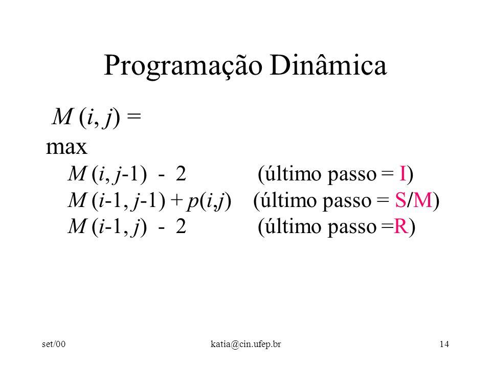 set/00katia@cin.ufep.br14 Programação Dinâmica M (i, j) = max M (i, j-1) - 2 (último passo = I) M (i-1, j-1) + p(i,j) (último passo = S/M) M (i-1, j) - 2 (último passo =R)