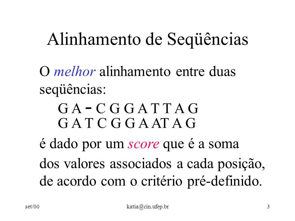 set/00katia@cin.ufep.br3 Alinhamento de Seqüências O melhor alinhamento entre duas seqüências: G A - C G G A T T A G G A T C G G A AT A G é dado por um score que é a soma dos valores associados a cada posição, de acordo com o critério pré-definido.