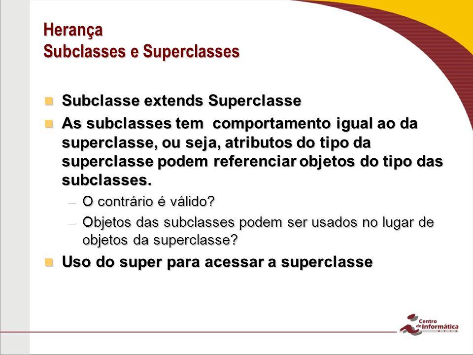 Herança Subclasses e Superclasses Subclasse extends Superclasse Subclasse extends Superclasse As subclasses tem comportamento igual ao da superclasse,