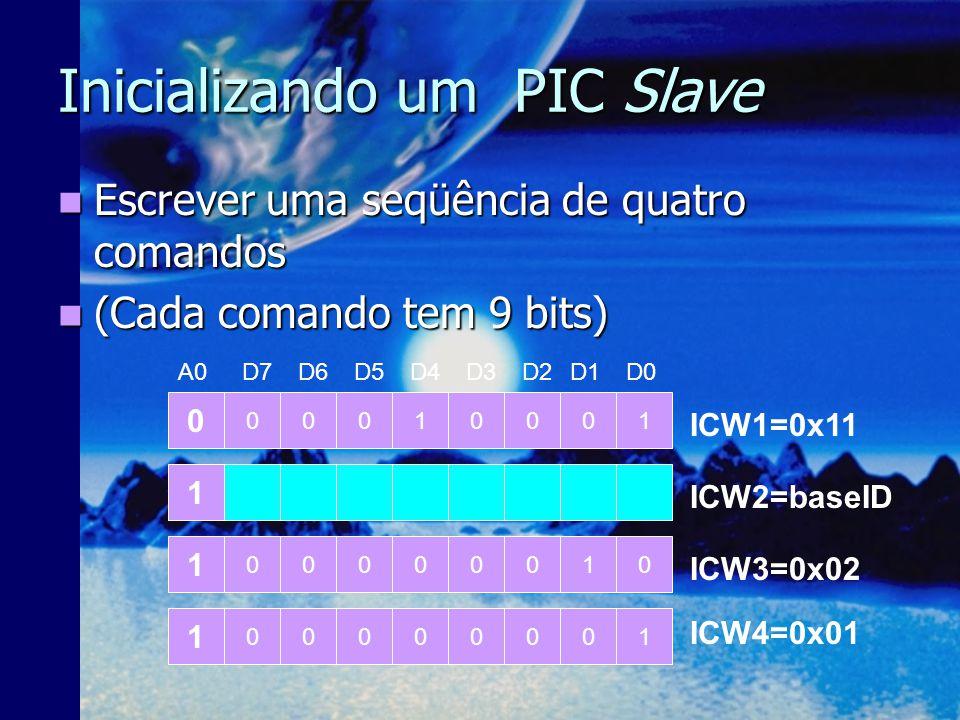 Inicializando um PIC Master Escrever a seqüência de comandos. Escrever a seqüência de comandos. (Cada comando tem 9 bits.) (Cada comando tem 9 bits.)