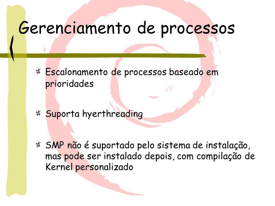 Gerenciamento de processos Escalonamento de processos baseado em prioridades Suporta hyerthreading SMP não é suportado pelo sistema de instalação, mas