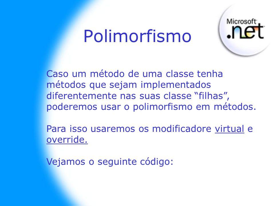 Caso um método de uma classe tenha métodos que sejam implementados diferentemente nas suas classe filhas, poderemos usar o polimorfismo em métodos. Pa
