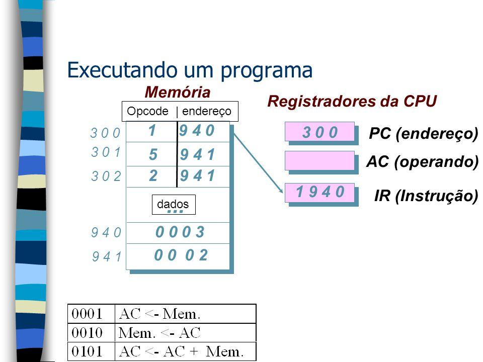 Memória 0 15 sinal Dado Instrução magnitude 0 15 3 Opcode Endereço 4 Opcode