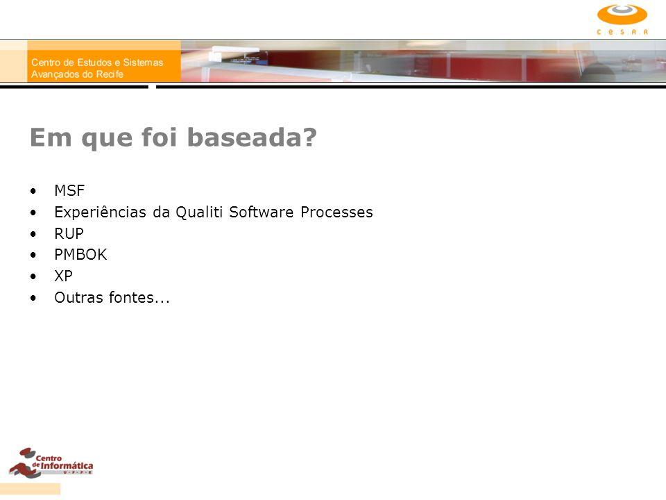 Em que foi baseada? MSF Experiências da Qualiti Software Processes RUP PMBOK XP Outras fontes...