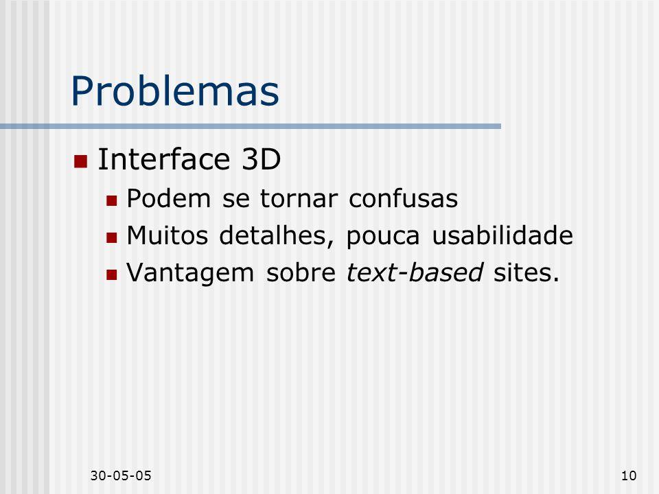 30-05-0510 Problemas Interface 3D Podem se tornar confusas Muitos detalhes, pouca usabilidade Vantagem sobre text-based sites.