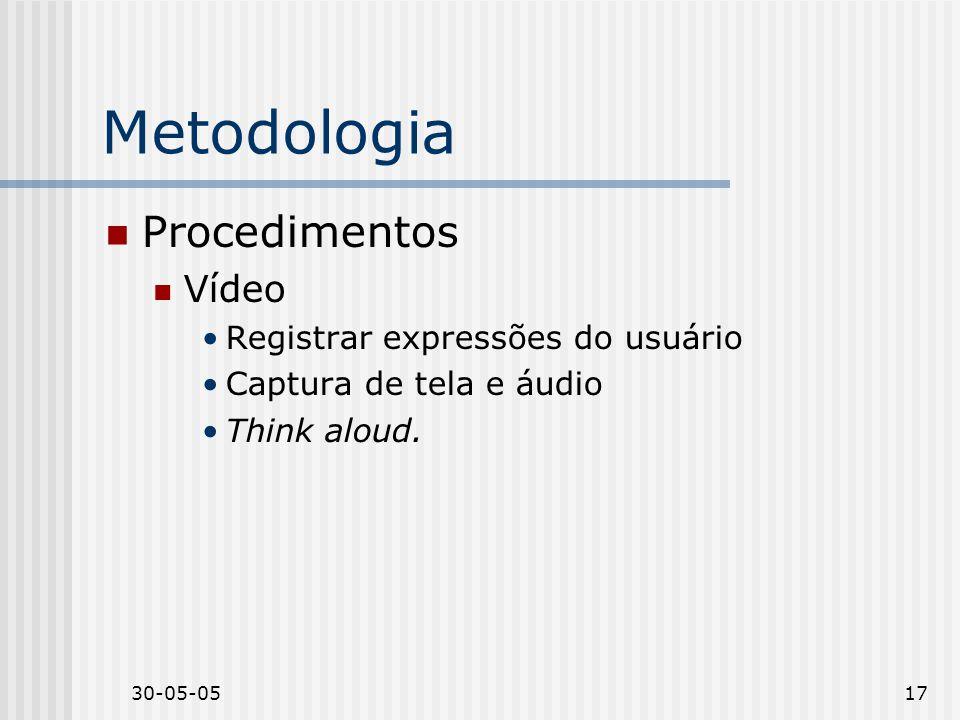30-05-0517 Metodologia Procedimentos Vídeo Registrar expressões do usuário Captura de tela e áudio Think aloud.