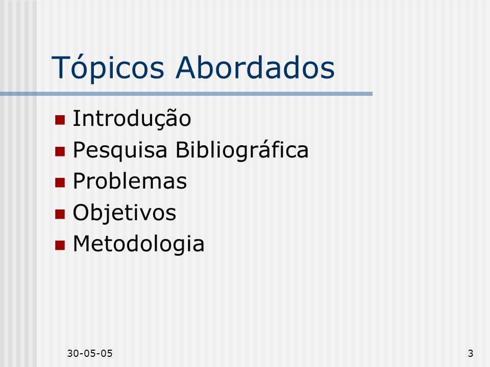30-05-053 Tópicos Abordados Introdução Pesquisa Bibliográfica Problemas Objetivos Metodologia