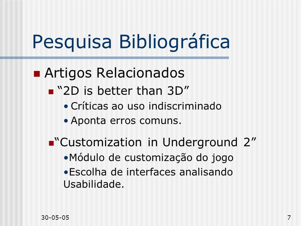 30-05-057 Pesquisa Bibliográfica Artigos Relacionados 2D is better than 3D Críticas ao uso indiscriminado Aponta erros comuns.