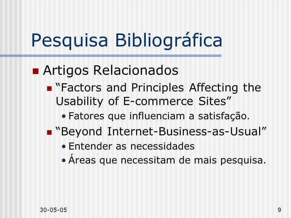 30-05-059 Pesquisa Bibliográfica Artigos Relacionados Factors and Principles Affecting the Usability of E-commerce Sites Fatores que influenciam a sat