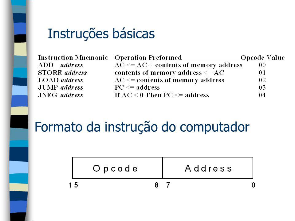 Arquitetura do computador PC - program counter – indica a próxima instrução a ser executada. IR - Instruction register – recebe a instrução a ser deco