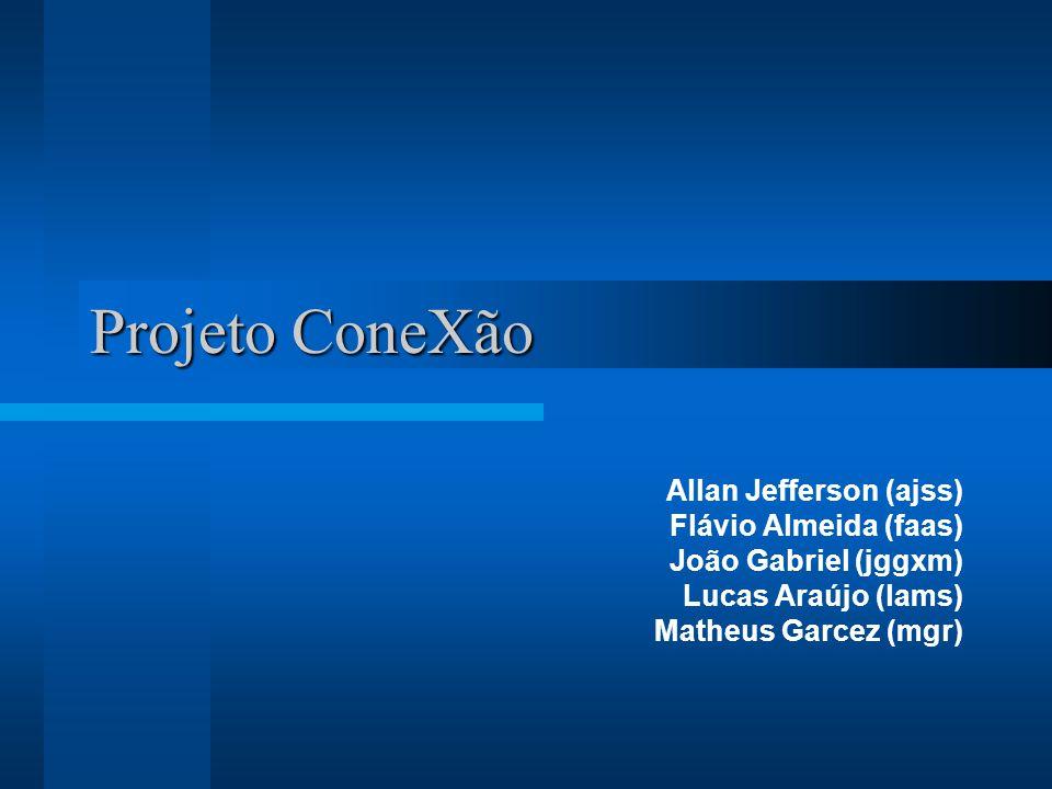 Projeto ConeXão Allan Jefferson (ajss) Flávio Almeida (faas) João Gabriel (jggxm) Lucas Araújo (lams) Matheus Garcez (mgr)