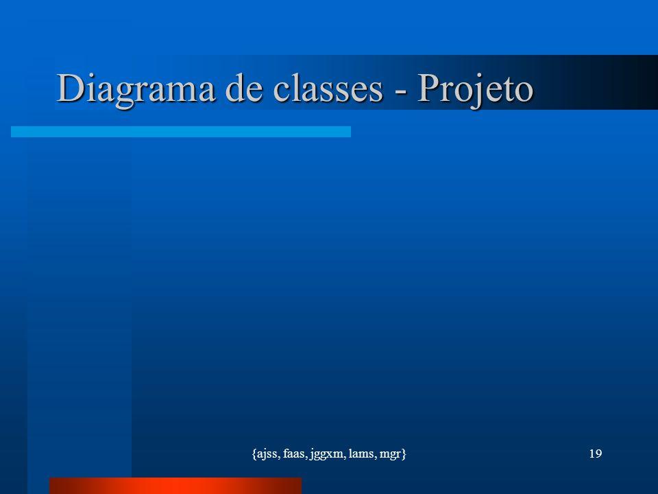 {ajss, faas, jggxm, lams, mgr}19 Diagrama de classes - Projeto