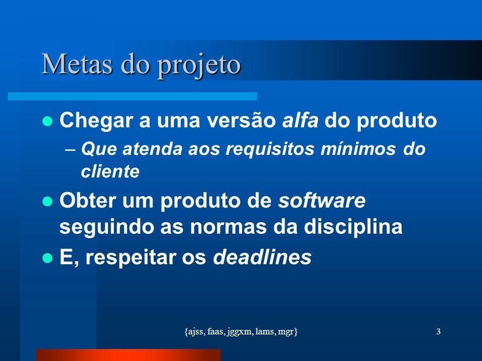{ajss, faas, jggxm, lams, mgr}3 Metas do projeto Chegar a uma versão alfa do produto –Que atenda aos requisitos mínimos do cliente Obter um produto de