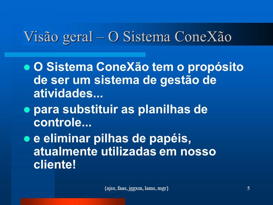 {ajss, faas, jggxm, lams, mgr}5 Visão geral – O Sistema ConeXão O Sistema ConeXão tem o propósito de ser um sistema de gestão de atividades... para su