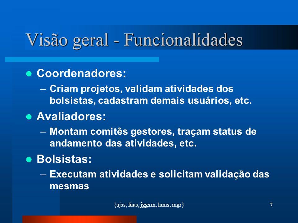 {ajss, faas, jggxm, lams, mgr}7 Visão geral - Funcionalidades Coordenadores: –Criam projetos, validam atividades dos bolsistas, cadastram demais usuár