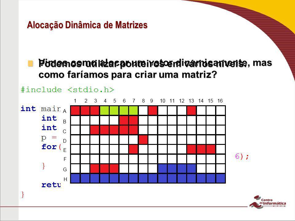 Alocação Dinâmica de Matrizes Vimos como alocar um vetor dinamicamente, mas como faríamos para criar uma matriz? Vimos como alocar um vetor dinamicame