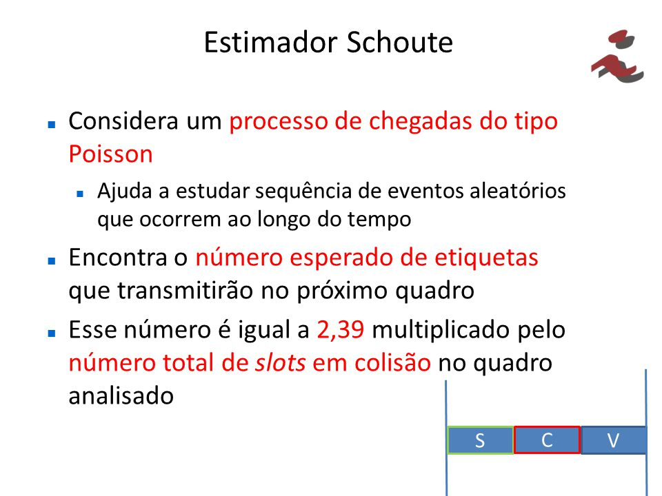 Estimador Schoute Considera um processo de chegadas do tipo Poisson Ajuda a estudar sequência de eventos aleatórios que ocorrem ao longo do tempo Enco