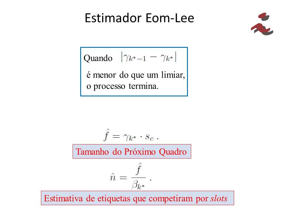 Estimador Eom-Lee Quando é menor do que um limiar, o processo termina. Tamanho do Próximo Quadro Estimativa de etiquetas que competiram por slots