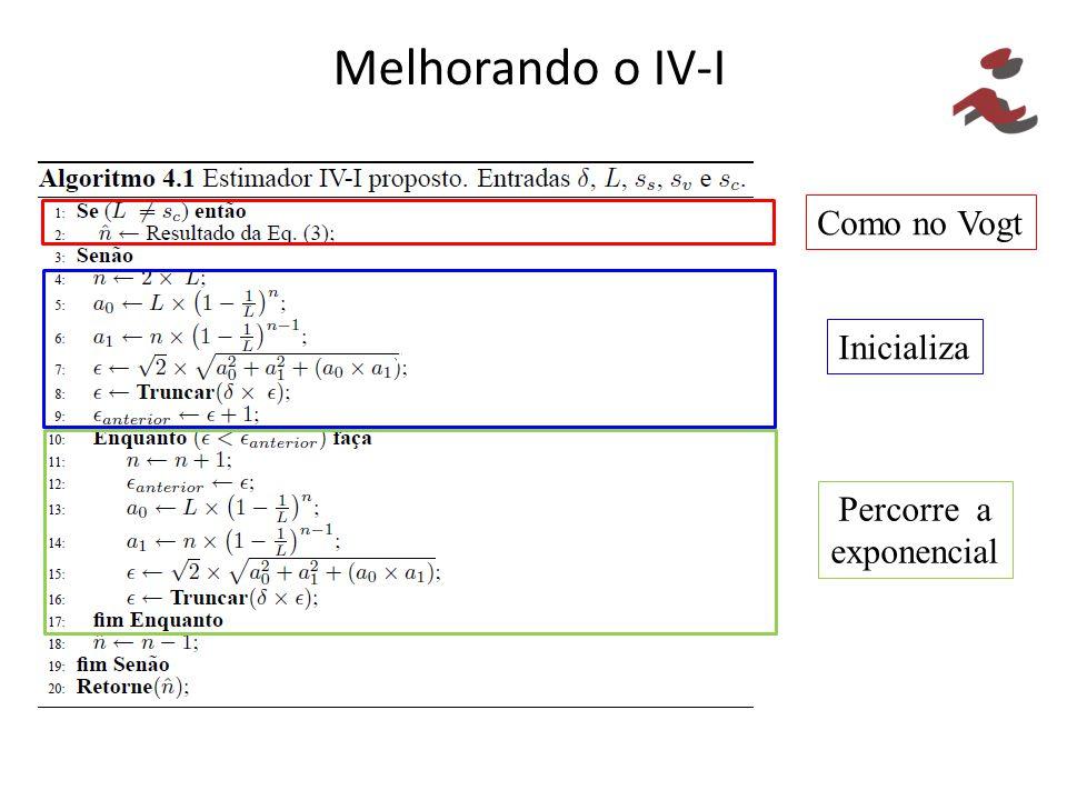 Melhorando o IV-I // Como no Vogt Inicializa Percorre a exponencial