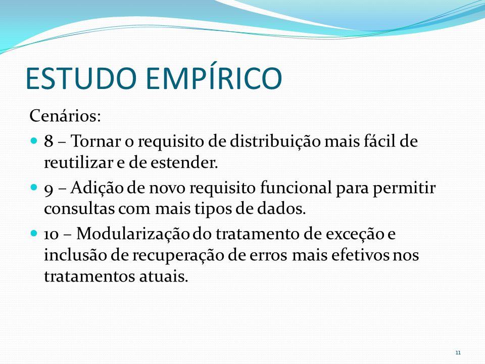 ESTUDO EMPÍRICO Cenários: 8 – Tornar o requisito de distribuição mais fácil de reutilizar e de estender.