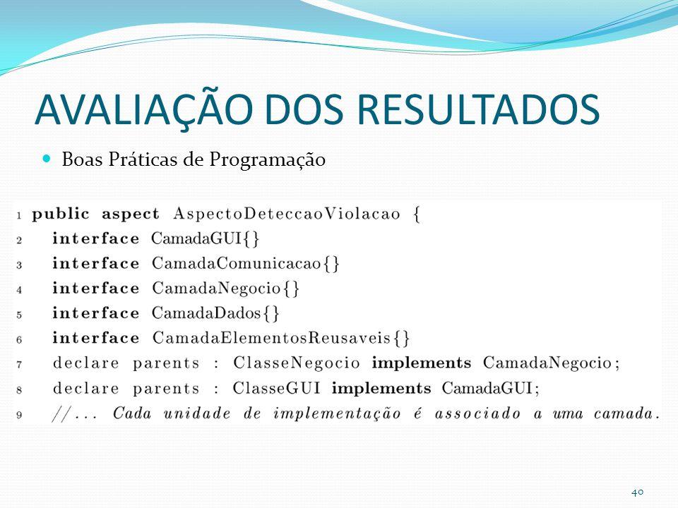 AVALIAÇÃO DOS RESULTADOS Boas Práticas de Programação 40