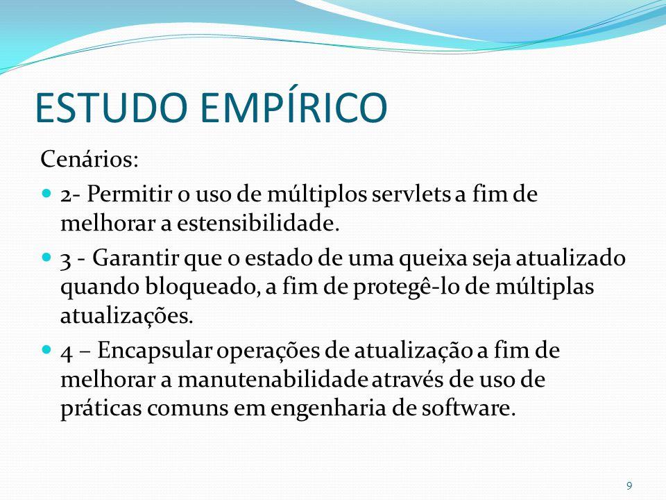 ESTUDO EMPÍRICO Cenários: 2- Permitir o uso de múltiplos servlets a fim de melhorar a estensibilidade.