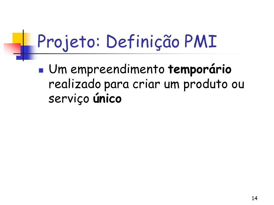 14 Projeto: Definição PMI Um empreendimento temporário realizado para criar um produto ou serviço único