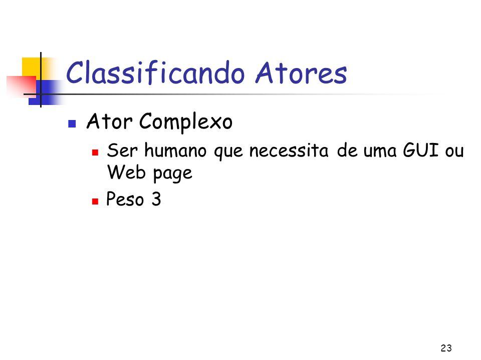 23 Classificando Atores Ator Complexo Ser humano que necessita de uma GUI ou Web page Peso 3