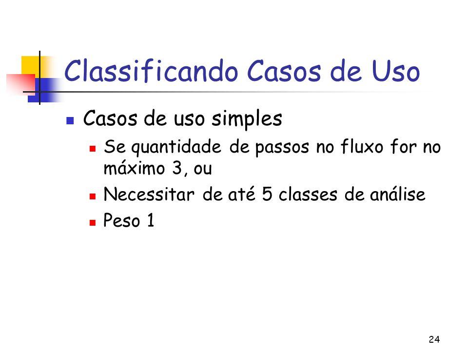 24 Classificando Casos de Uso Casos de uso simples Se quantidade de passos no fluxo for no máximo 3, ou Necessitar de até 5 classes de análise Peso 1