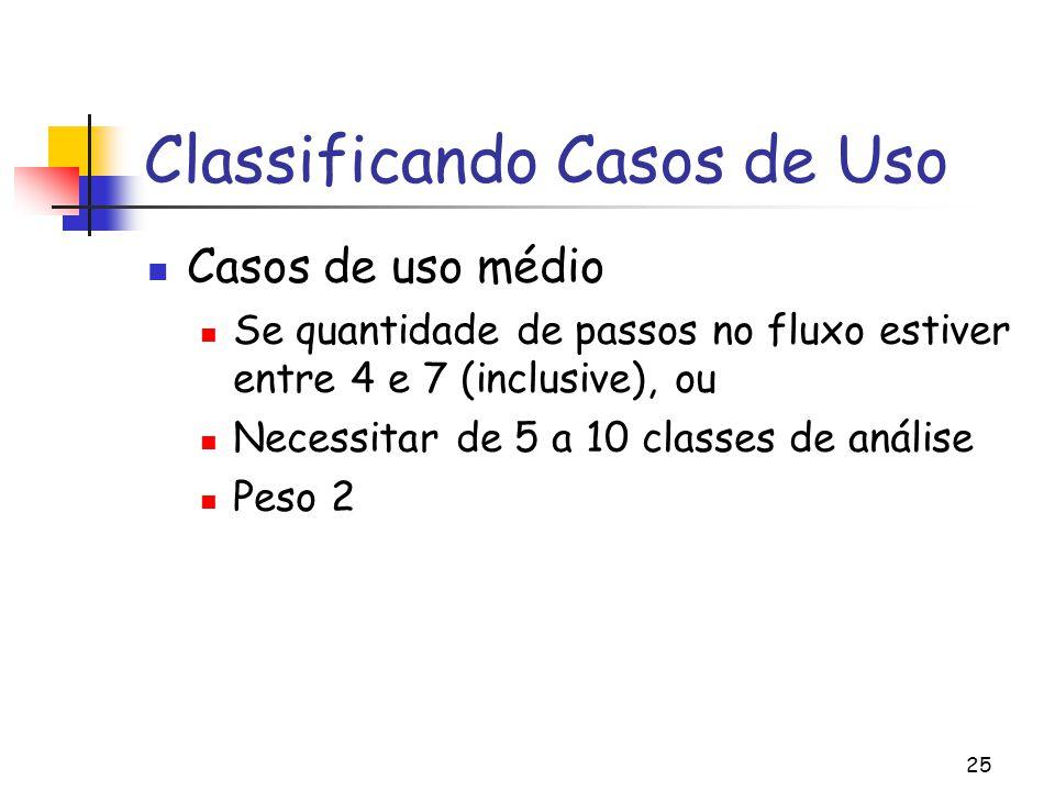 25 Classificando Casos de Uso Casos de uso médio Se quantidade de passos no fluxo estiver entre 4 e 7 (inclusive), ou Necessitar de 5 a 10 classes de análise Peso 2