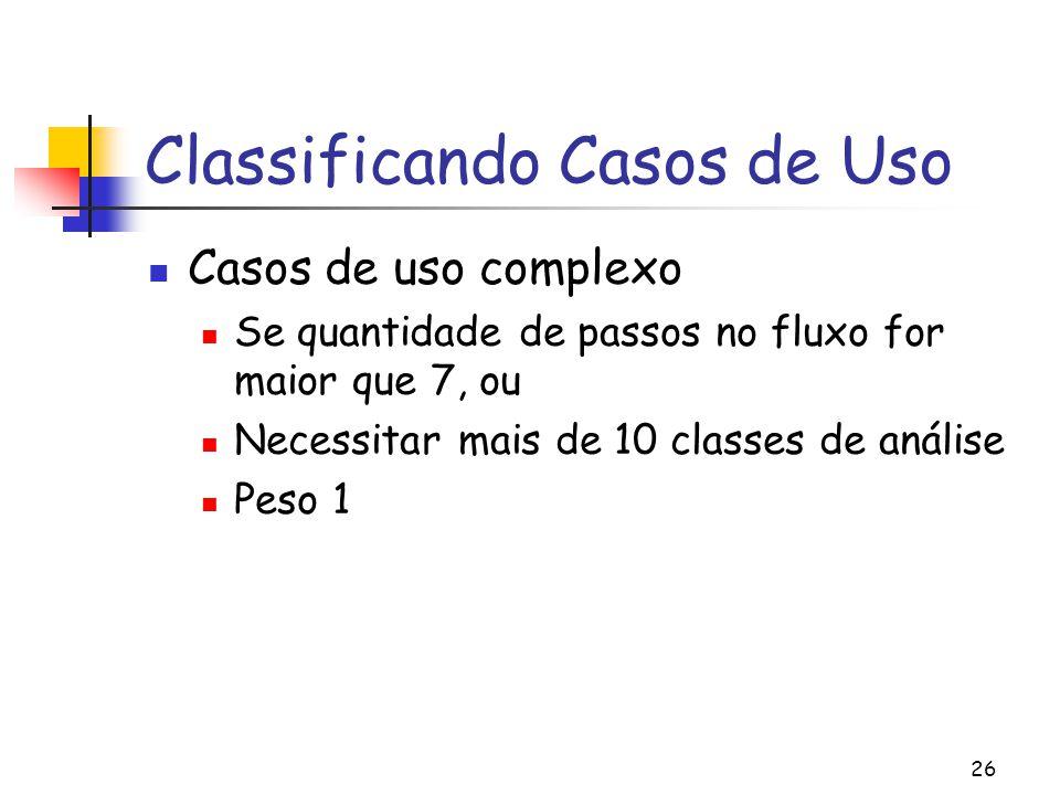 26 Classificando Casos de Uso Casos de uso complexo Se quantidade de passos no fluxo for maior que 7, ou Necessitar mais de 10 classes de análise Peso 1