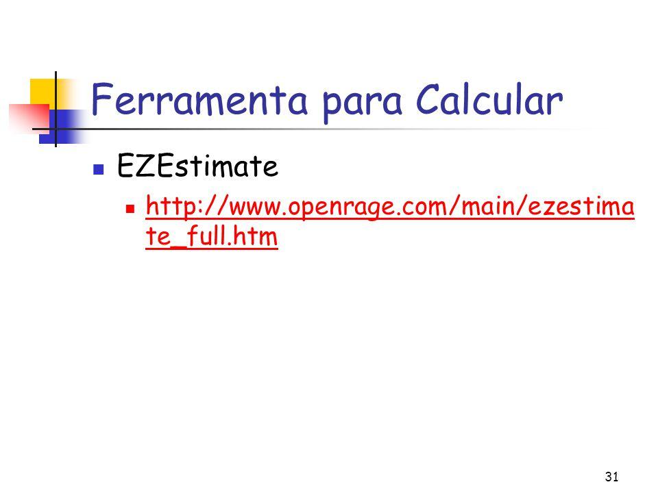 31 Ferramenta para Calcular EZEstimate http://www.openrage.com/main/ezestima te_full.htm http://www.openrage.com/main/ezestima te_full.htm