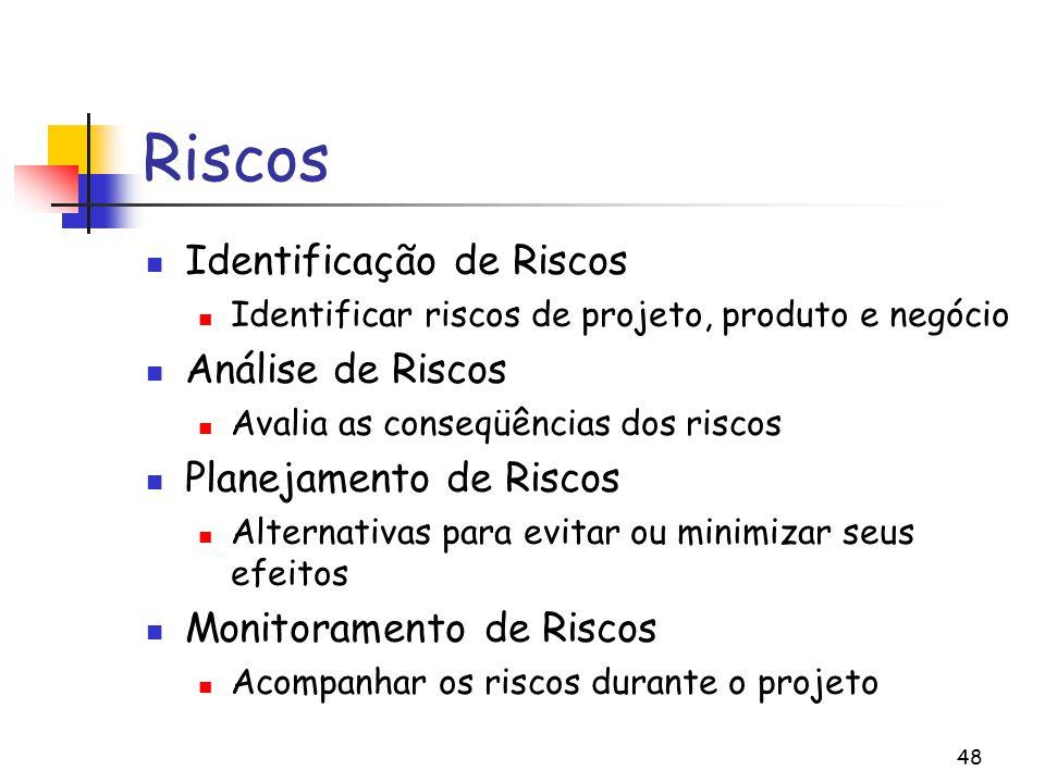 48 Riscos Identificação de Riscos Identificar riscos de projeto, produto e negócio Análise de Riscos Avalia as conseqüências dos riscos Planejamento de Riscos Alternativas para evitar ou minimizar seus efeitos Monitoramento de Riscos Acompanhar os riscos durante o projeto