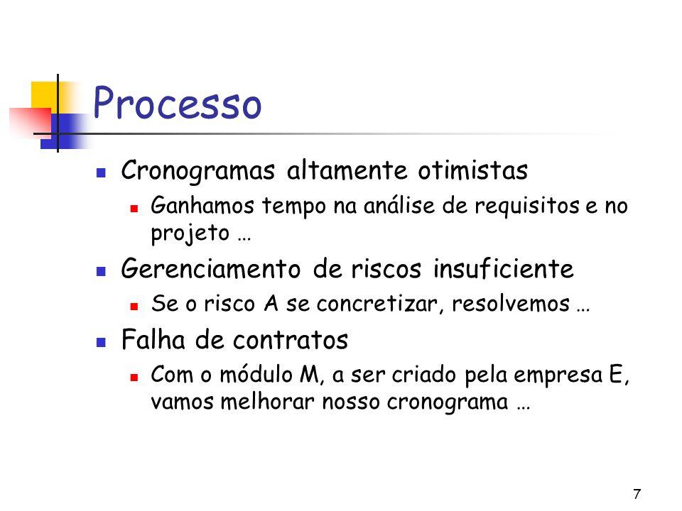 7 Processo Cronogramas altamente otimistas Ganhamos tempo na análise de requisitos e no projeto … Gerenciamento de riscos insuficiente Se o risco A se concretizar, resolvemos … Falha de contratos Com o módulo M, a ser criado pela empresa E, vamos melhorar nosso cronograma …
