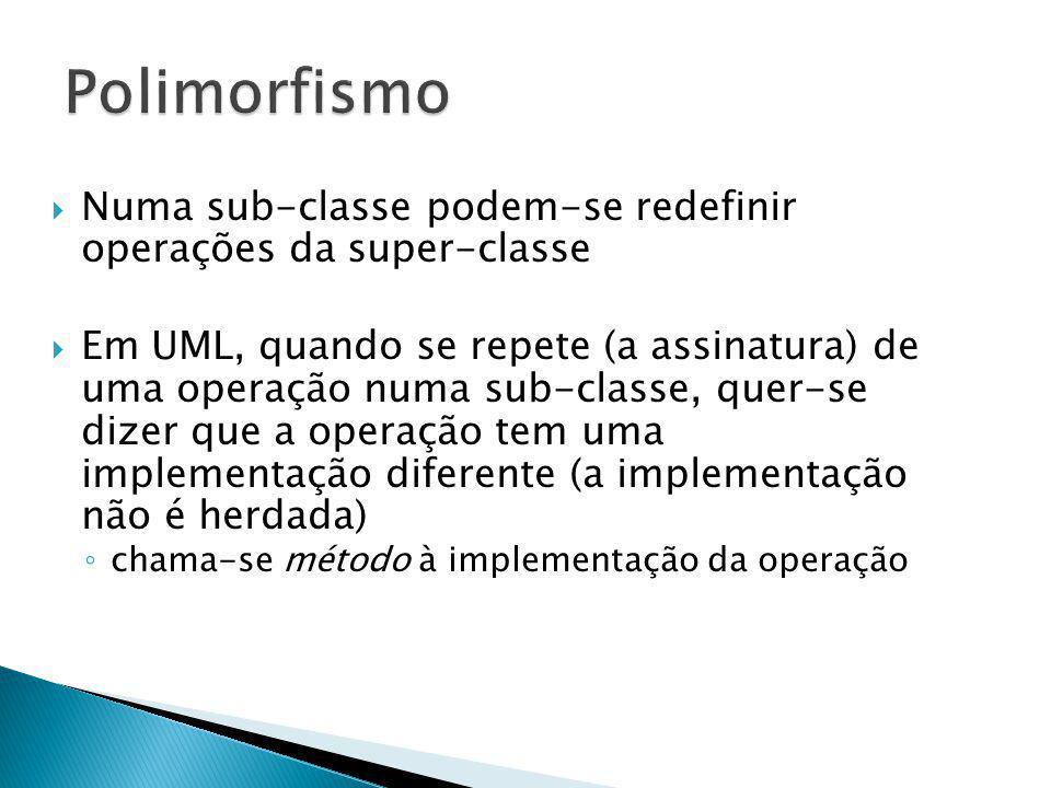 Numa sub-classe podem-se redefinir operações da super-classe Em UML, quando se repete (a assinatura) de uma operação numa sub-classe, quer-se dizer qu