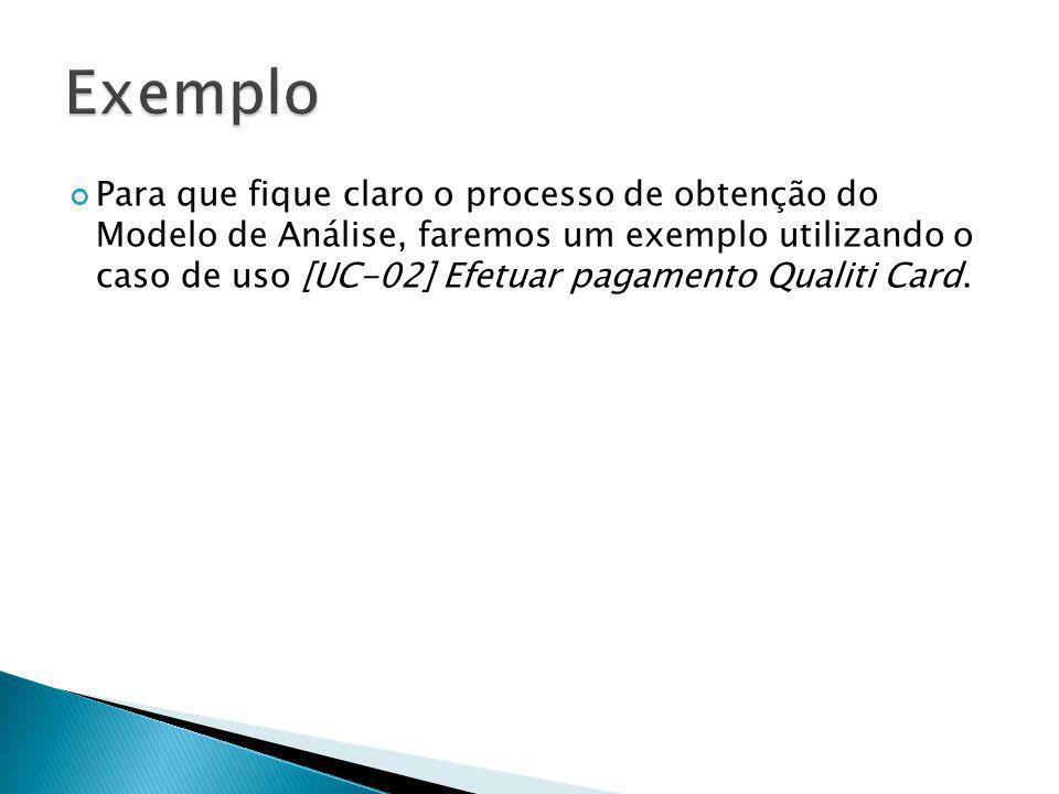 Para que fique claro o processo de obtenção do Modelo de Análise, faremos um exemplo utilizando o caso de uso [UC-02] Efetuar pagamento Qualiti Card.