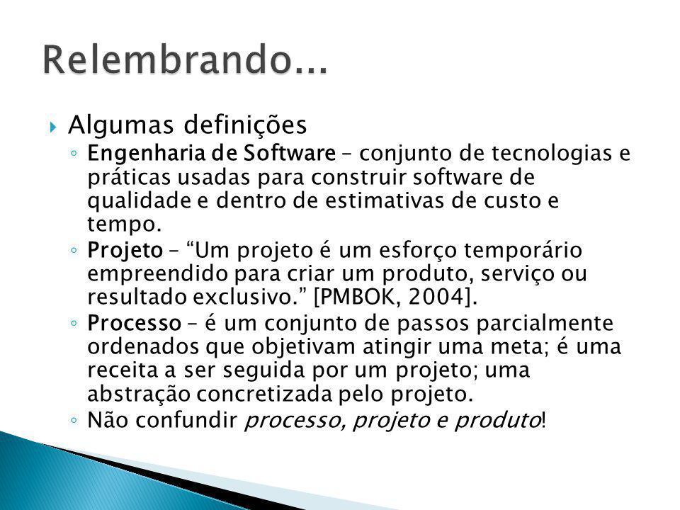 Algumas definições Engenharia de Software – conjunto de tecnologias e práticas usadas para construir software de qualidade e dentro de estimativas de