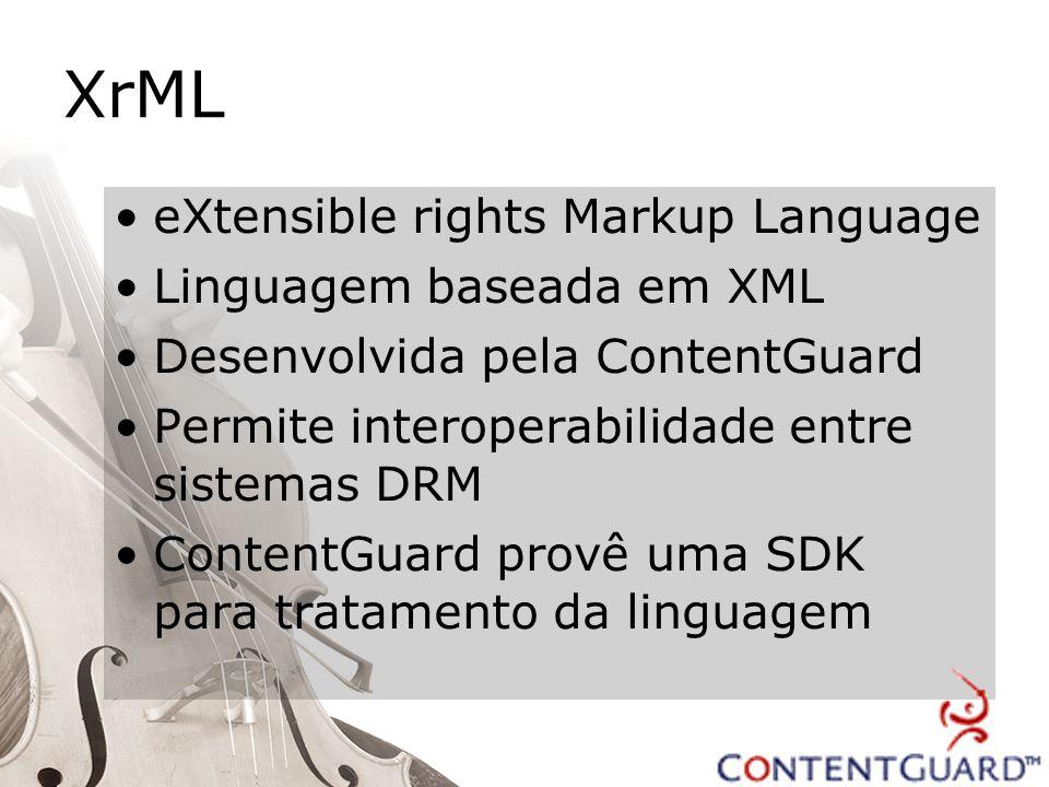 XrML eXtensible rights Markup Language Linguagem baseada em XML Desenvolvida pela ContentGuard Permite interoperabilidade entre sistemas DRM ContentGuard provê uma SDK para tratamento da linguagem