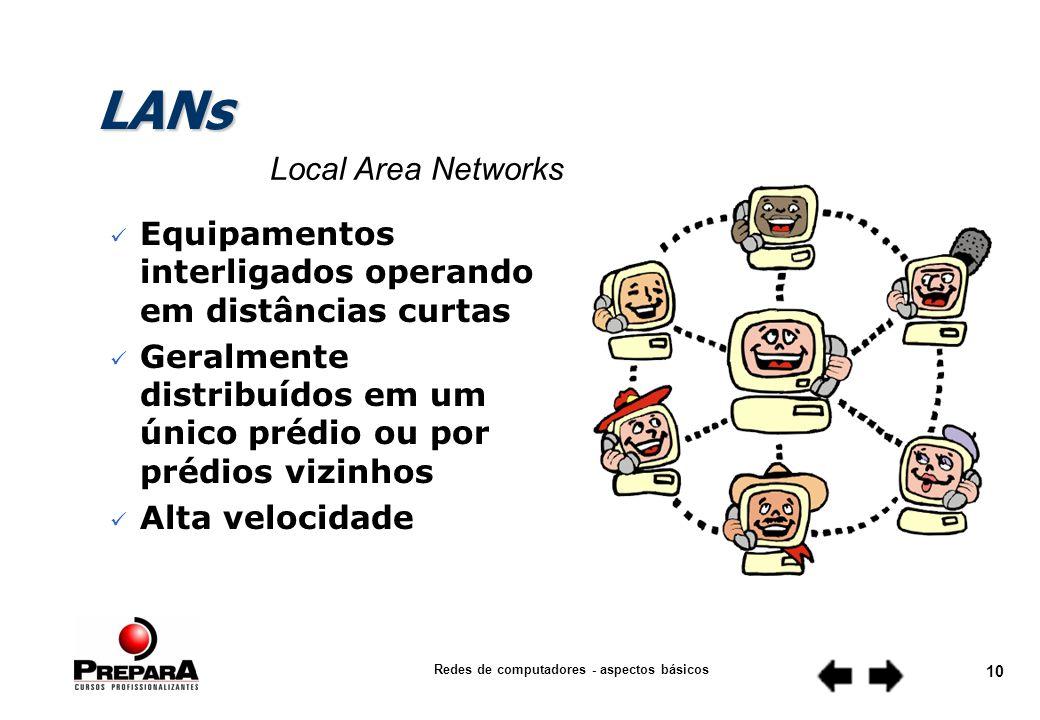 Redes de computadores - aspectos básicos 9 Distribuição Geográfica n LANs n MANs n WANs