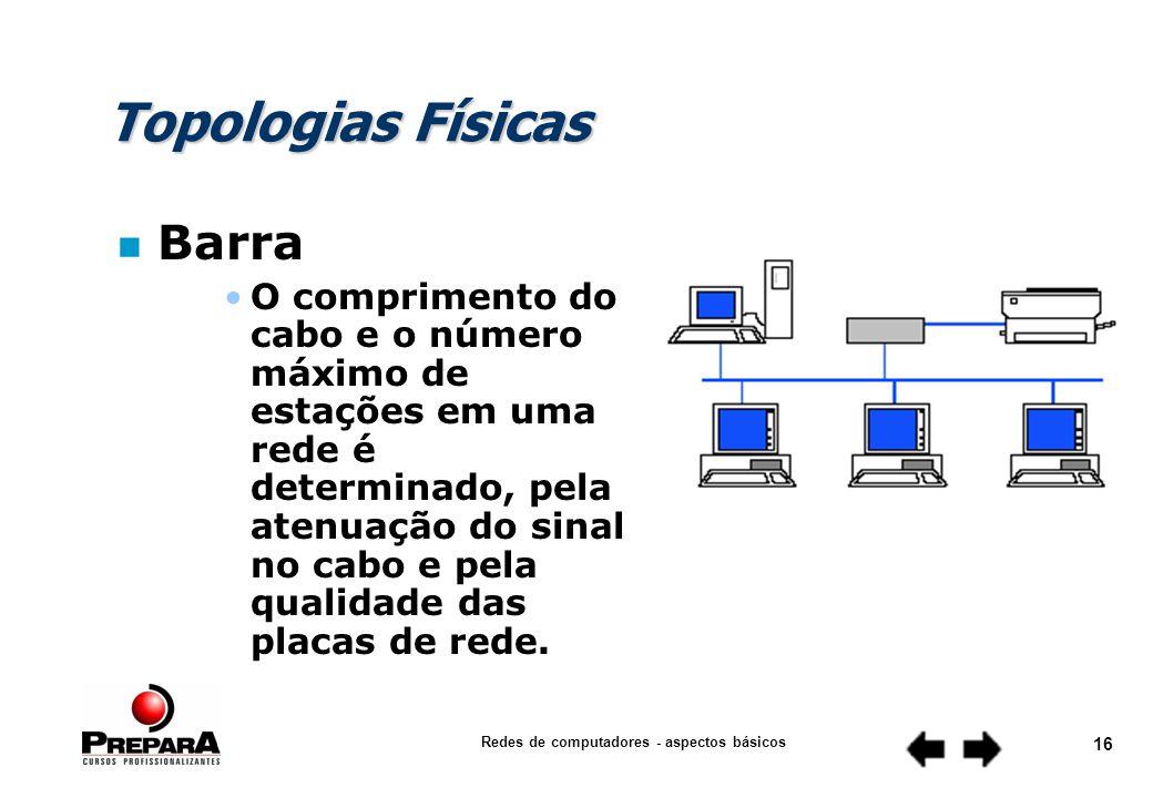 Redes de computadores - aspectos básicos 15 Topologias Físicas n Barra Todas as estações são ligadas em paralelo ao cabo Um pedaço do circuito em curto causa a queda da rede