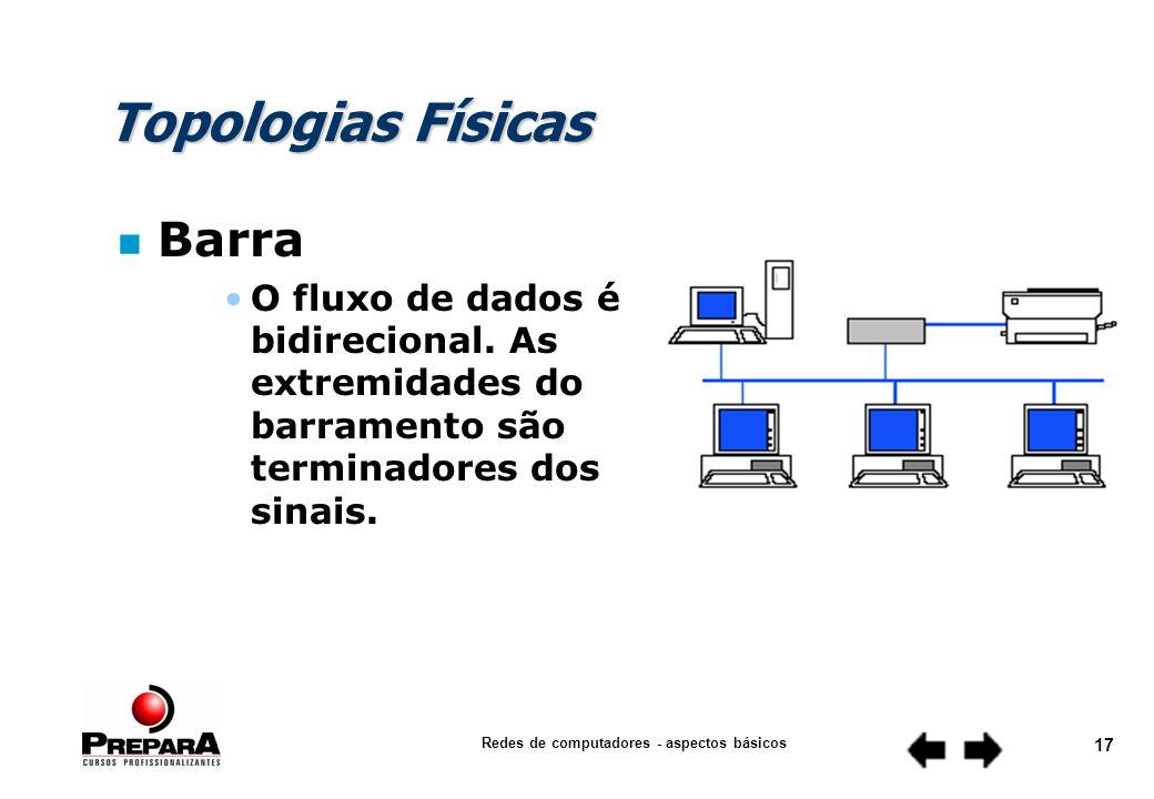 Redes de computadores - aspectos básicos 16 Topologias Físicas n Barra O comprimento do cabo e o número máximo de estações em uma rede é determinado, pela atenuação do sinal no cabo e pela qualidade das placas de rede.