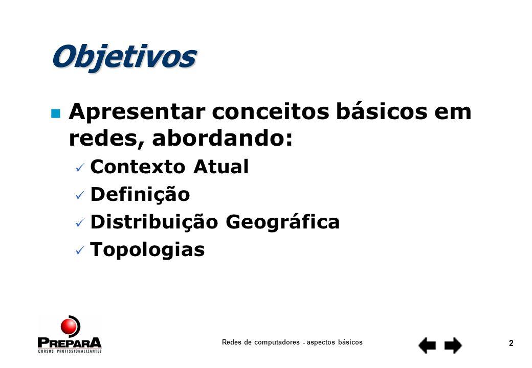 Redes de computadores - aspectos básicos 2 Objetivos n Apresentar conceitos básicos em redes, abordando: Contexto Atual Definição Distribuição Geográfica Topologias