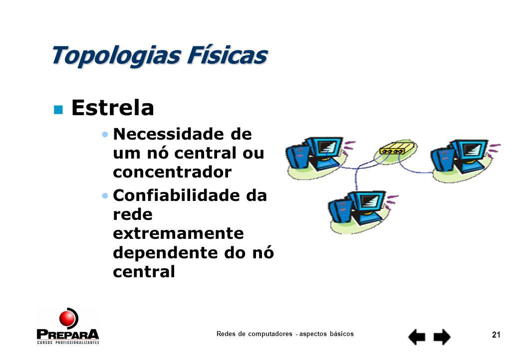 Redes de computadores - aspectos básicos 20 Topologias Físicas n Anel Um grande comprimento total de cabo é permitido, pelo fato de cada estação ser um repetidor de sinal Fluxo de dados em uma única direção