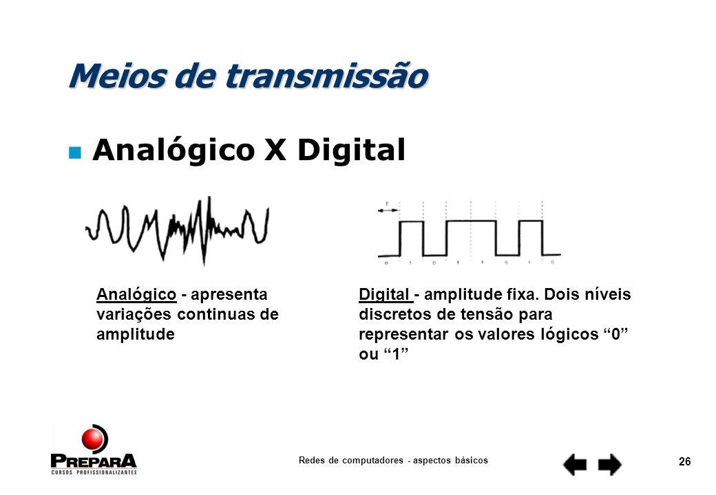 Redes de computadores - aspectos básicos 25 Meios de transmissão n Analógico X Digital n Cabo coaxial n Par Trançado n Fibra ótica n Radiofusão n Backbone