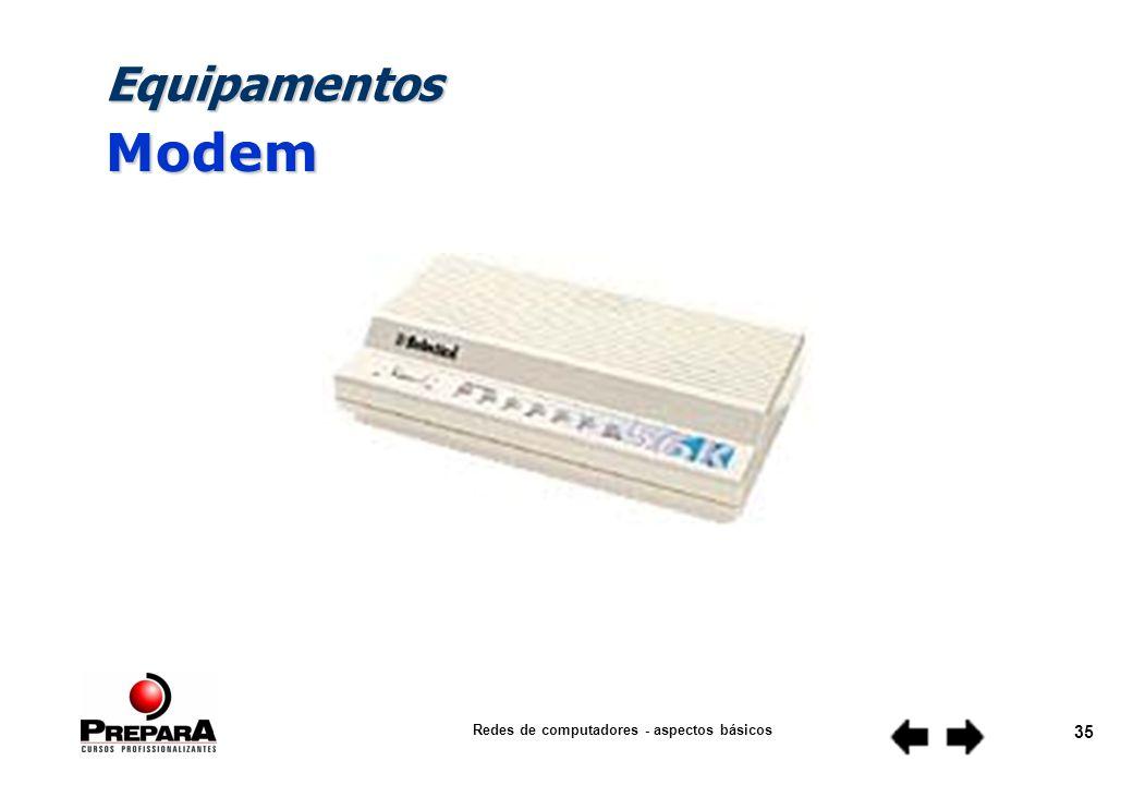 Redes de computadores - aspectos básicos 34 Equipamentos Roteador
